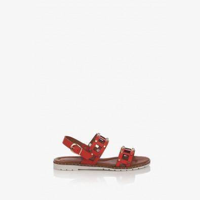Кожени дамски сандали в червено Аманда