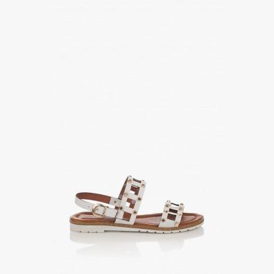 Дамски кожени сандали в бяло Аманда