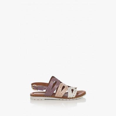 Лилави дамски кожени сандали Каролин