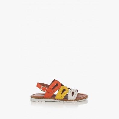 Кожени дамски сандали Каролин в оранжево