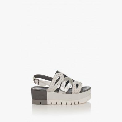 Кожени дамски сандали в сиво Клеър