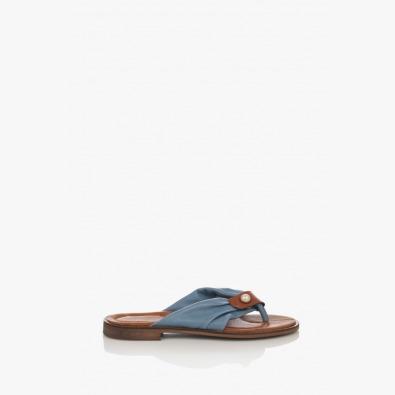 Сини дамски кожени чехли с аксесоар Шърли