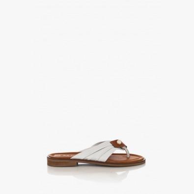 Бели дамски кожени сандали с аксесоар Шърли