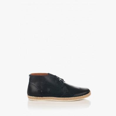 Черни мъжки кожени обувки с перфорация Джаймс