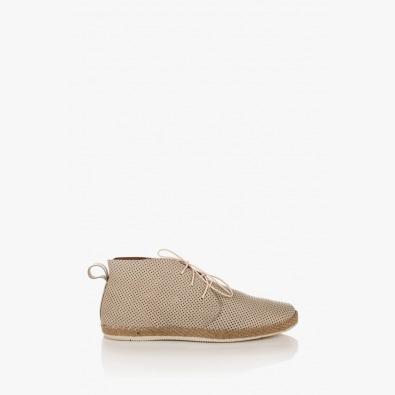 Кожени мъжки обувки с перфорация в сиво Джаймс