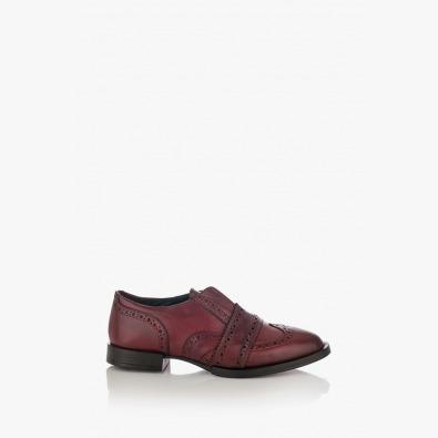 Дамски кожени обувки с препаска цвят бордо Киара