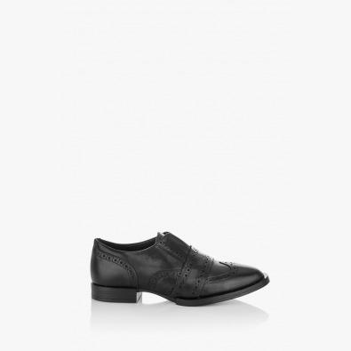 Черни дамски кожени обувки Киара