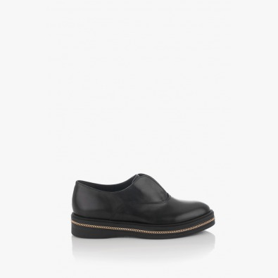 Черни кожени дамски обувки с аксесоар Дарси