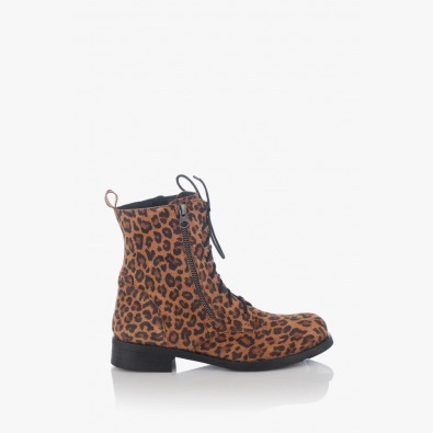 Дамски кожени боти с леопардов принт Исела