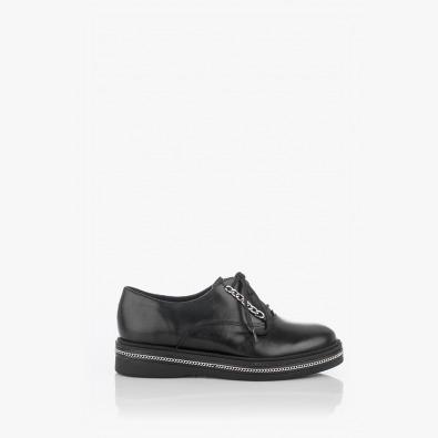 Черни кожени дамски обувки с аксесоари Виченца