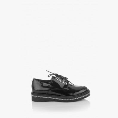 Черни дамски обувки естествен лак Виченца