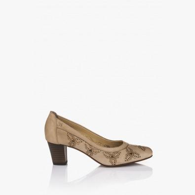 Кожена дамска обувка Пеги бежов