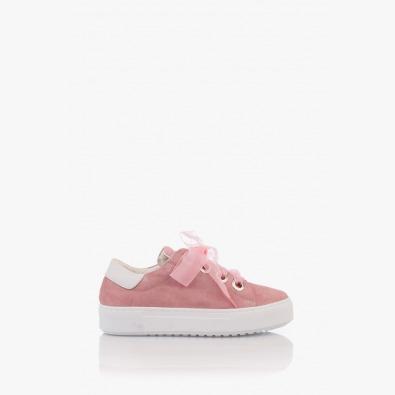 Велурени дамски спортни обувки Дейзи в розов цвят