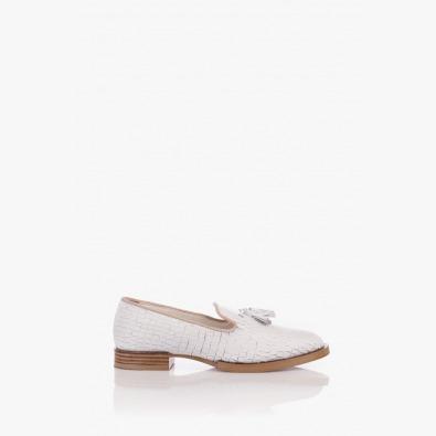 Кожени дамски обувки в бяло Клара