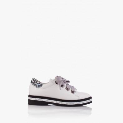 Дамски спортни кожени обувки с принт Алис