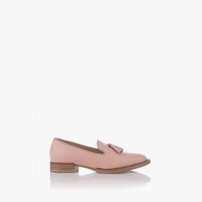 Кожени дамски обувки цвят пудра Карла с аксесоар