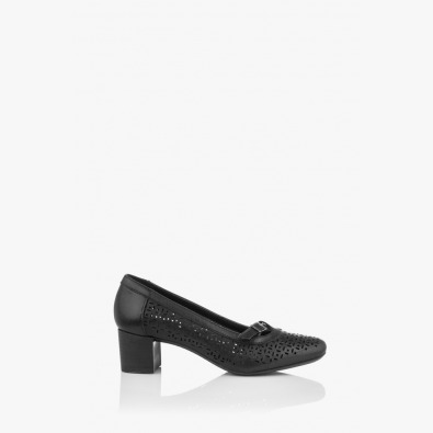 Черни дамски кожени обувки на ток Иви