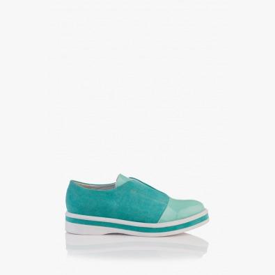 Велурени дамски обувки Ейми в зелено