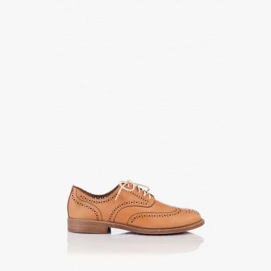 Кожени дамски обувки Мина с перфорация