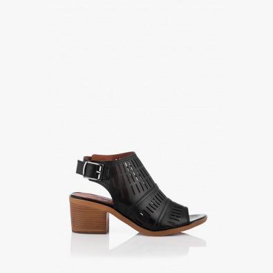 Черни кожени дамски сандали Бенигна