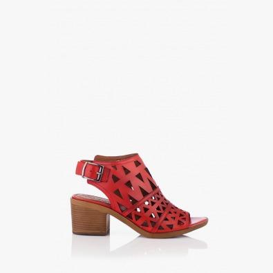 Червени дамски кожени сандали Бенигна