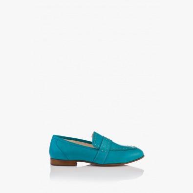 Сини дамски кожени обувки Алдина