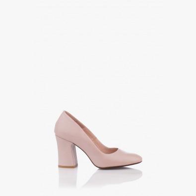 Кожени дамски обувки на ток Леанор цвят пудра