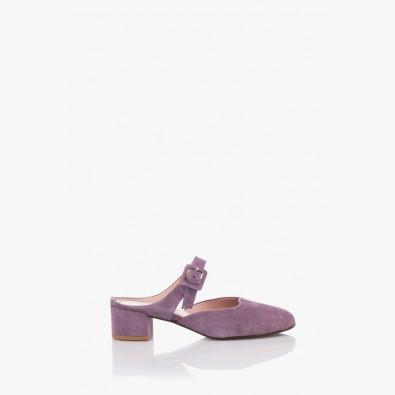 Лилави велурени дамски сандали Лучиана