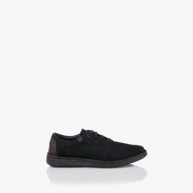 Черни кожени мъжки обувки с връзки Филипо