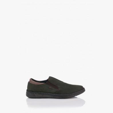 Зелени кожени мъжки обувки Фредо