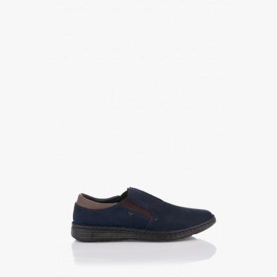 Мъжки кожени обувки Фредо тъмно син цвят