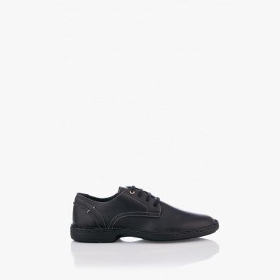 Черни кожени мъжки обувки с връзки Матео