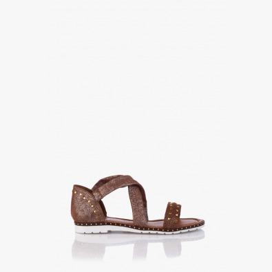 Кожени дамски сандали цвят карамел Флор