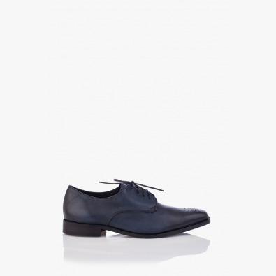 Сини мъжки кожени обувки Грийн