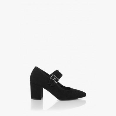 Велурени дамски обувки в черно Ийви