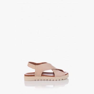 Кожени дамски сандали цвят пудра Джийни