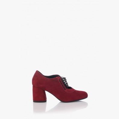 Велурени дамски обувки с ластик Рената в бордо