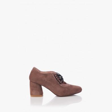 Велурени дамски обувки Рената цвят таупе