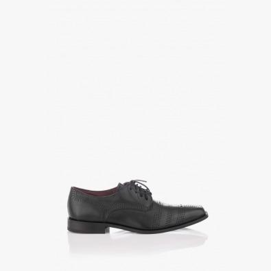 Мъжки класически черни обувки с перфорация Люк