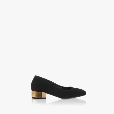 Велурени дамски обувки в черно Бевърли