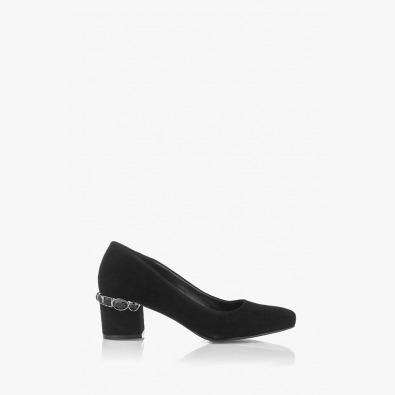 Велурени дамски обувки с аксесоар Синтия