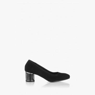 Черни велурени дамски обувки Дори