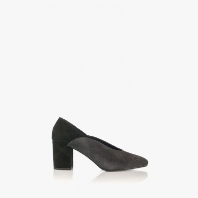Велурени дамски обувки Тина сиво и черно