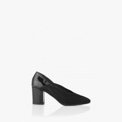 Черни дамски елегантни обувки Тина велур и лак