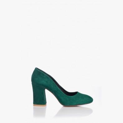 Елегантни дамски обувки в зелен велур Леанор