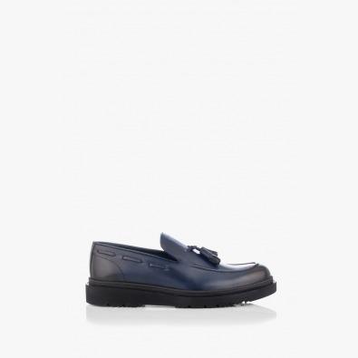 Сини кожени мъжки обувки Феликс
