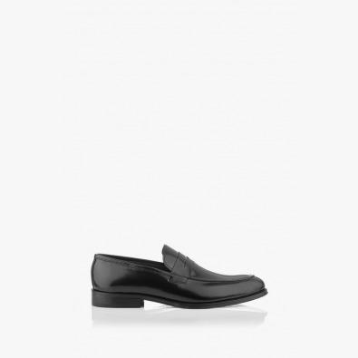 Черни мъжки елегантни обувки в черен лак Логан