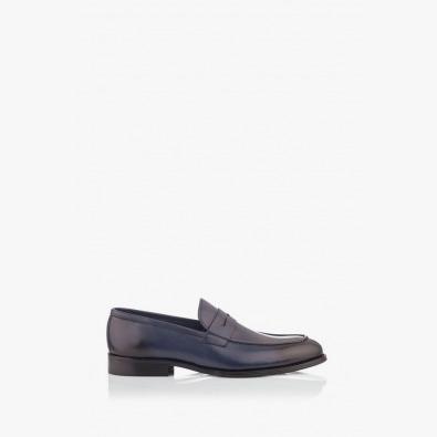 Сини кожени мъжки обувки Логан