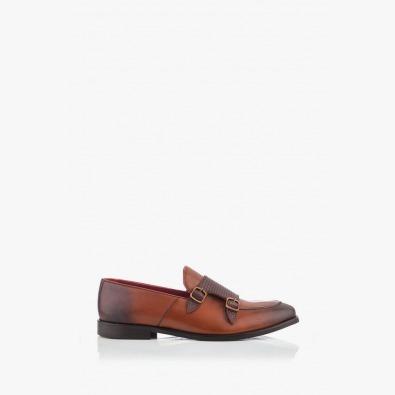 Кожени мъжки обувки цвят карамел Виктор