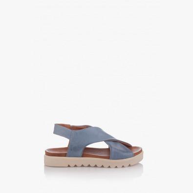 Сини дамски кожени сандали Джийни